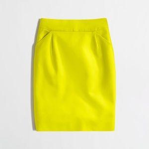 J. Crew neon yellow pencil skirt 😍